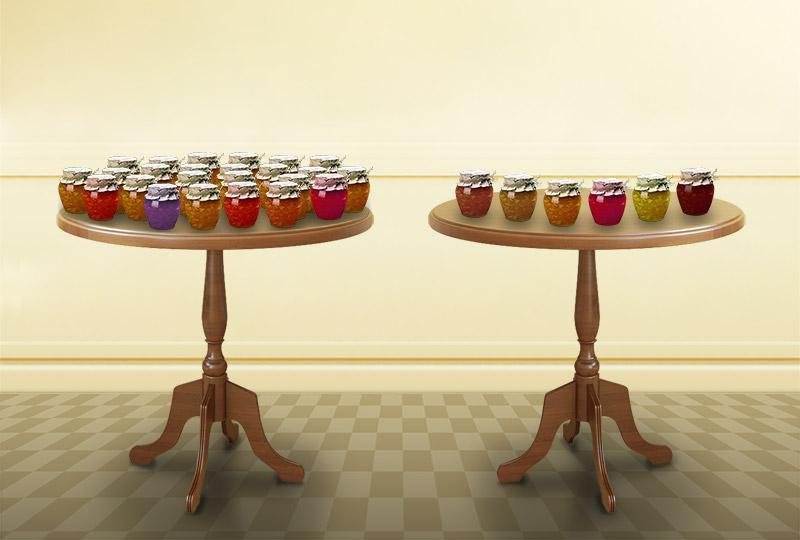 6種類のジャムを並べたテーブルと、24種類のジャムを並べたテーブル